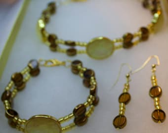 Brown, Gold, Mother of Pearl Set