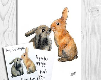 Valentine's ecards, postcard Valentine Day, Print Watercolor, animal illustration, rabbit, Penguins, Scuirrel, present, size A6