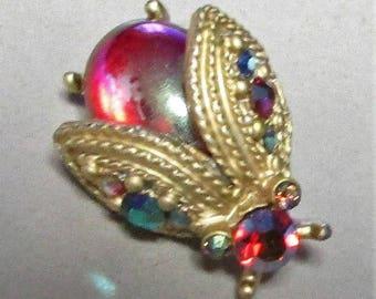 Vintage Art Glass Ladybug Pin Signed DODDS