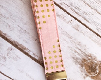Pink and gold key fob / wristlet / keychain
