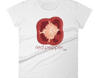 Red Pepper T-Shirt - Womens - Foodie - Chef - Organic