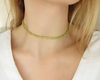 Green Choker Necklace Spring Beaded Choker Green Necklace Simple Necklace
