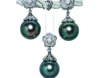 Vintage Platinum Diamond Black Tahitian South Sea Pearl Necklace Earrings Set