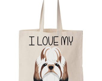I Love My Shih Tzu Canvas Tote Bag