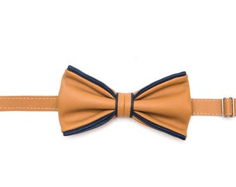 Beize Blue Leather Bow Tie