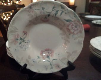 Six Vintage rimmed soup bowls by Johnson Brothers LYNTON China (Carnation pattern) made in England.