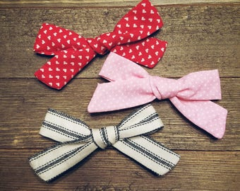 Be Mine | Handmade Cotton Baby Hair Bow Set of 3