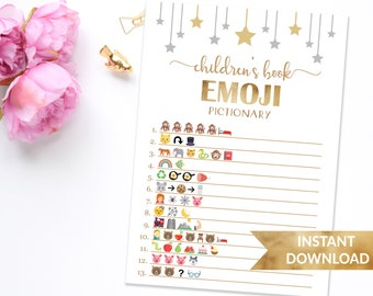 Children's book emoji baby shower game | Twinkle twinkle little star | Printable gender neutral shower game | Star baby shower emoji game