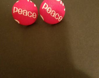 Red Peace button earrings