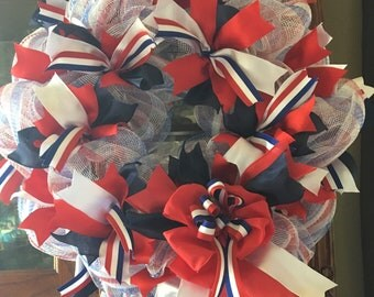 Deco Mesh Red White & Blue Memorial Day Wreath