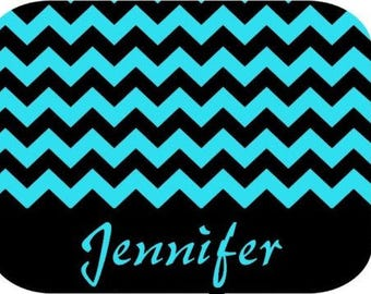 Personalized Mouse Pad - Teal Blue Black Chevron