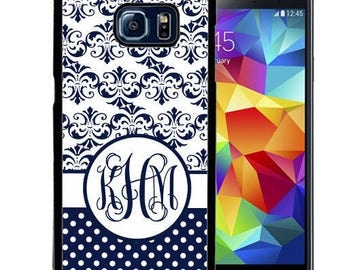 Monogrammed Rubber Case For Samsung S5, S6, S6 edge, S6 Edge Plus, S7, S7 Edge,  8, 8 plus - Navy Damask Polka Dots