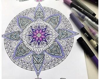 Printable Direction Mandala Colouring Page