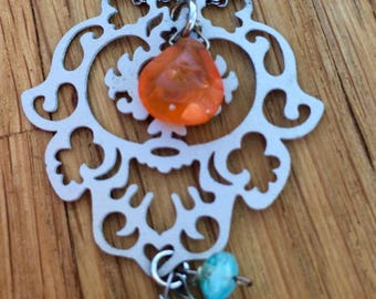Delicate filigree, carnelian, and chalcedony necklace|gift for her|pendant necklace|beads