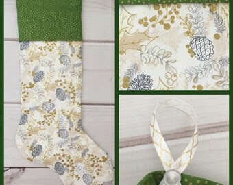 Gold and Silver Sparkly Christmas Stocking