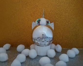 Silver unicorn cat ornament