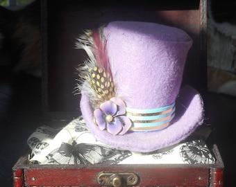 Purple / Violet Steampunk / Victorian Mini Top Hat / Fascinator