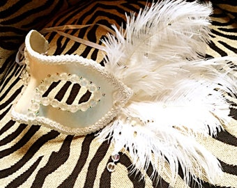 Pristina, festival mask, party mask, halloween, white mask, cosplay mask, mask, masquerade, costume mask, feathered mask, ostrich feathers