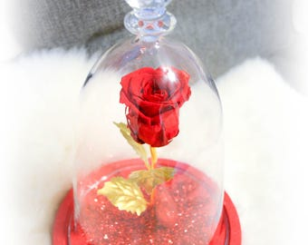 Beauty And The Beast Rose, LED-lit Glass Dome, Forever Rose, Eternal Rose