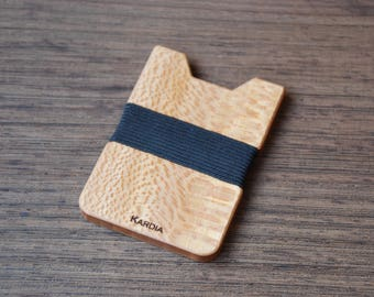 Wood Wallet, Sapele Wood, Minimalist Wallet, Card Holder, Boyfriend Gift, Front Pocket Wallet