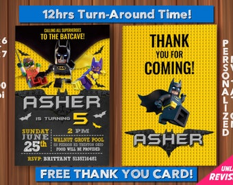 Batman Invite with FREE Thank you Card! Lego Batman Birthday, Lego Batman Invitation, Lego Batman Party, Lego Batman Birthday Invitation