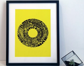 Greater Manchester Music - Typography Print Poster