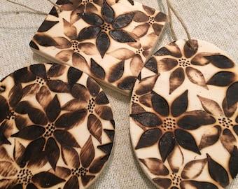 Pointsetta Wooden Ornaments
