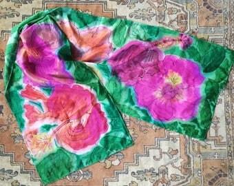 Hibiscus Handpainted Silk Scarf