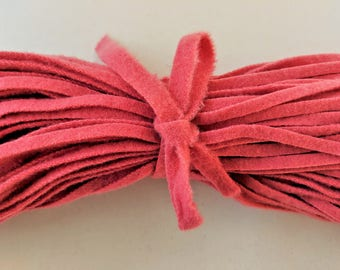 "Dorr Wool Flamingo Color 13-4 100 Strips 18"" Long Hand Cut with Blade Cut 6/  Finest Quality made to their specs."