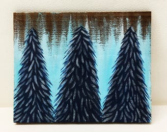 Blue & Silver Shimmer Snowy Trees Painting on Wood