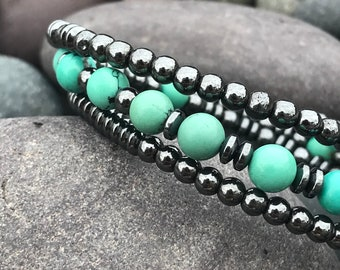 Turquoise and Hematite Wire Wrap Bracelet