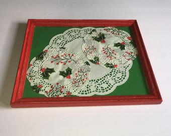 Red Painted Holiday Tray