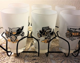 Set of 6 Vintage Drinking Glasses with Rack, Mint