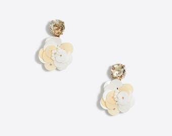 Sequin flower dangle earring