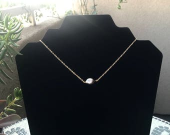 Natural, Freshwater Black Pearl on 14K Gold Plated Necklace