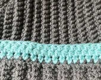 Grey and teal crochet bobble hat