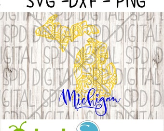 Michigan Svg, Mandala Svg, DXF, PNG, SVG files for Silhouette and Cricut