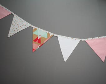 Fabric banner bunting, 9 flags, party accessory, flag banner, nursery decorations, home decor, kids room, girls nursery decor, pastel tones
