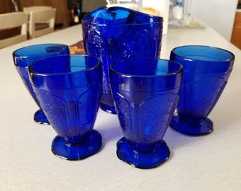 Vintage Cobalt blue 5 piece childs lemonade set Cherry Blossom antique pitcher goblet cup set