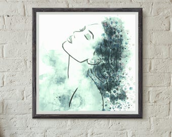 Mermaid, woman in blue, wall art, poster, poster for bathroom, poster for bedroom