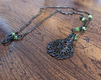 Spider web charm necklace