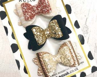 READY TO SHIP set of 3 Small glitter Bella hair bow clip