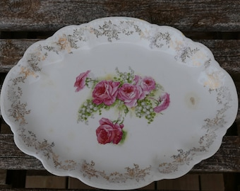 Homer Laughlin Fluffy Rose 2 Tray, Vintage Homer Laughlin Platter, Homer Laughlin Virginia Rose Platter, 1930's Homer Laughlin