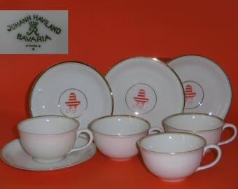 Johann Haviland 4 x Mocha cups with saucers fine porcelain 50s