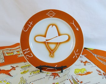 Vintage china // restaurant ware // western brands // airbrushed // Jackson china // cowboy hat