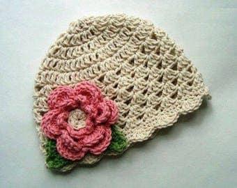 Crochet baby hat Girls hat Crochet kids hat Hat for baby girl Hat with flower