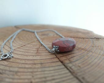 Red Clay Copper Toned Stone Necklace on Steel Chain