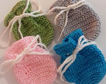 Handmade Cotton Crochet Pouch | Choice of Four Colours