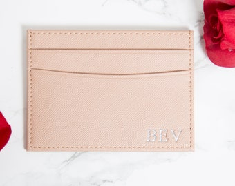 Customised Genuine Saffiano Leather Credit Card Holder in nude, Personalised Monogrammed Embossed initials Double card holder, womens wallet