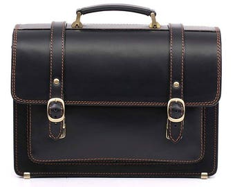Black Leather Briefcase Real Leather Bag Leather Laptop Bag Leather Business Bag Crossbody Bag Leather Cabin Bag Leather Messenger Bag